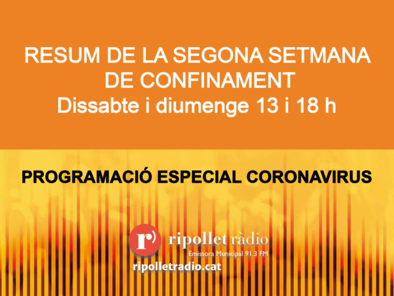 Especial Coronavirus. Resum setmanal 28/03/2020